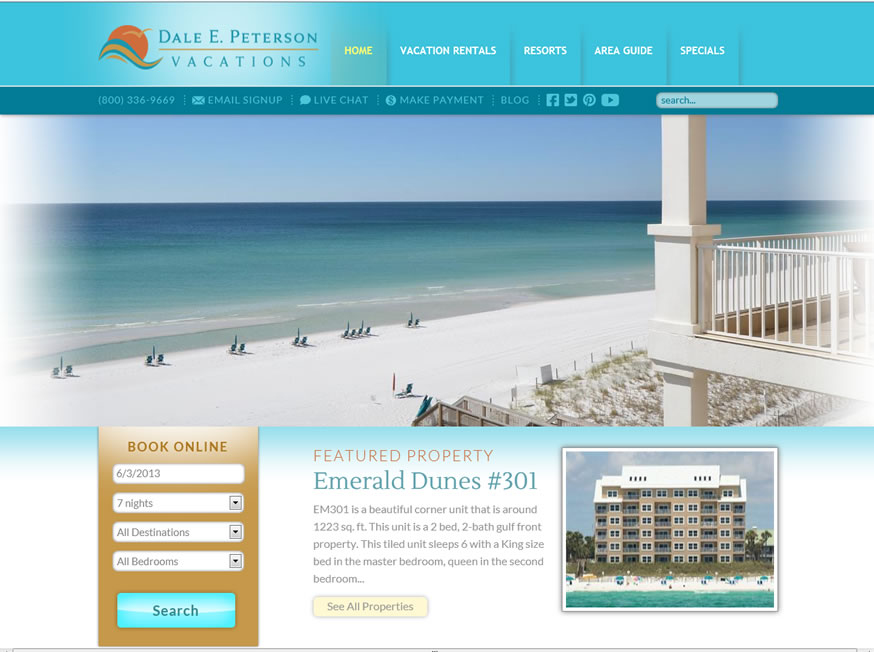 Dale E. Peterson Vacations – Newly Redesigned Vacation Rental Website